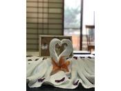 婚礼やお祝いなどで可能な限りスタッフがアドリブでお部屋の装飾をいたします。