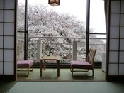 桜の季節がおすすめ!お部屋から桜をお楽しみいただける月の棟和室10畳バストイレ付