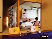 家族みんなで楽しみにしてた温泉旅行♪女将劇場でお子様も大喜び♪(藤壷客室イメージ)