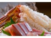 ~活蟹尽くし会席のお造りイメージ~「活蟹尽くし会席」では、ずわい蟹や寒ぶり、甘海老などの旬のお造りもお楽しみ頂けます。
