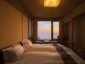 【潮亭】キングサイズベッドでゆったりとふたりで過ごし、夕日に見惚れて。