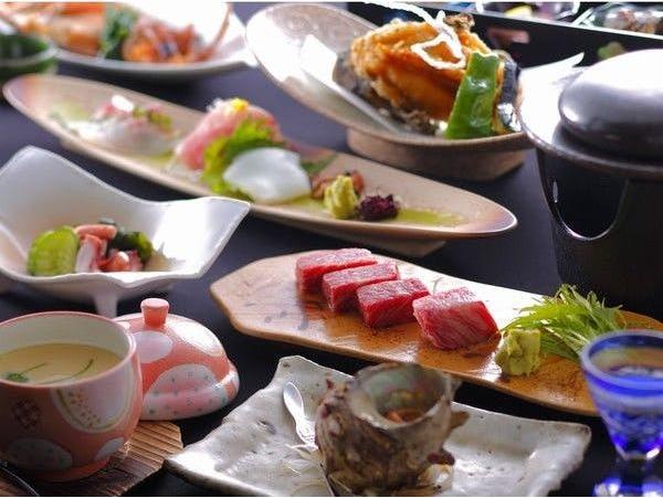 丹後の新鮮な海の幸に京都丹波牛ステーキ付
