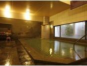 【中浴場】当館の源泉「斉明湯」のまろやかな湯を、夜通しお楽しみいただけます。
