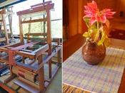 上田紬の花瓶敷きを制作体験。90分間。お二人同時に、2台の機織機でお楽しみいただけます。