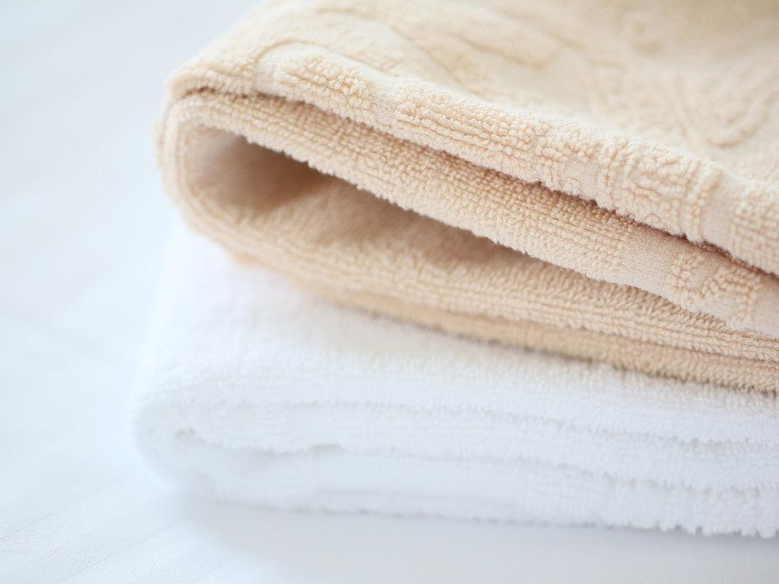 2名様ご利用のお部屋には、色違いのタオルをご用意しております