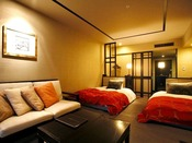 【デラックスツイン/33平米】ベッド幅:1200mm×2000mm 2台/落ち着いた雰囲気の客室