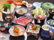 上州牛の鋤鍋と月替わりの和食膳