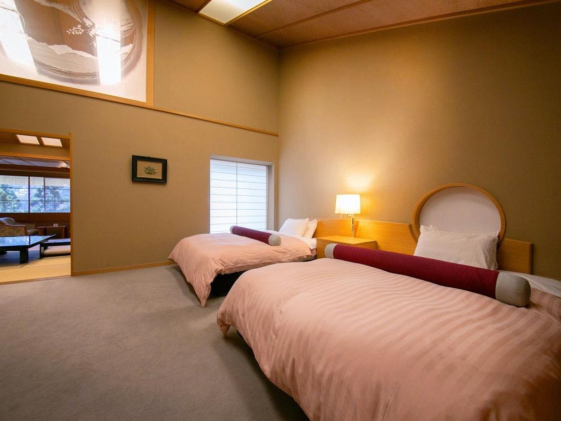 ■特別室-ツインベッドルーム-■ 特別室の寝室はすべて「角部屋」。静かな夜をお過ごしいただけます