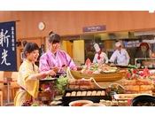 レストランでは旬の味覚が食べ放題※画像はイメージです。