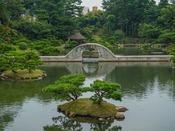 名勝縮景園(ホテルから路面電車で約20分:四季折々の日本庭園が御覧頂けます。)