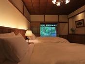温泉露天付特別室23番のベッドルーム
