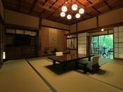 23番・24番・26番のお部屋が生まれ変わってひとつとなり132平米の広さの贅沢な温泉露天付特別室が誕生。花屋初めてのベッドを取り入れた特別室。