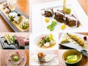 最上級佐賀牛・地魚・地野菜などを駆使し、料理長のインスピレーションでつくる、和洋折衷の懐石料理フルコースです。