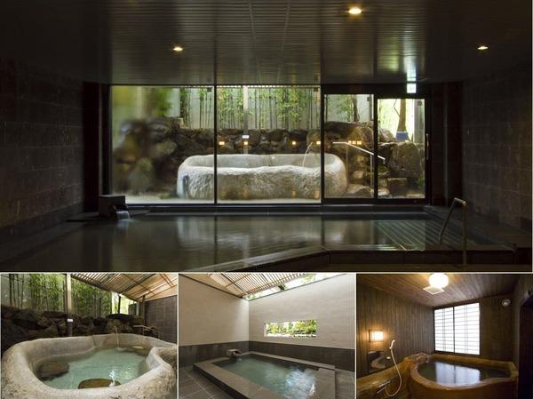 大浴場、3種の貸切風呂で美肌泉を楽しむ。