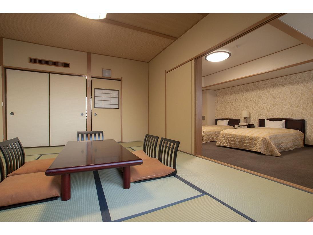 三世代家族やグループ旅行におすすめの和洋室は、ゆったりと寛げる和室と洋室を兼ね備えたお部屋です。