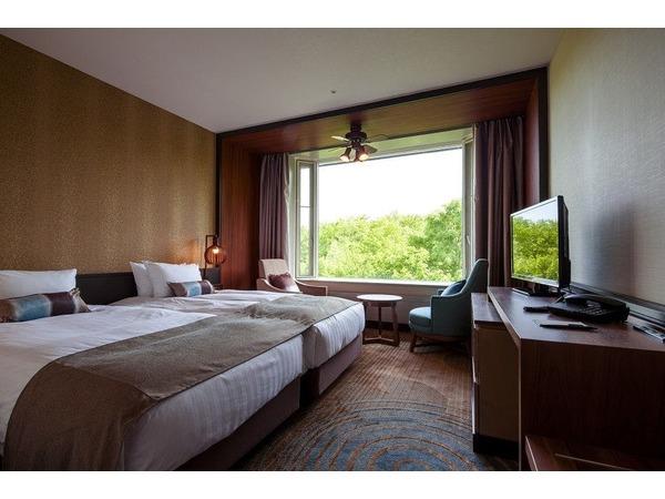 ベッドが2台並んだハリウッドタイプ客室