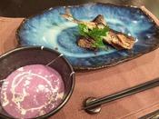 *【創作フレンチ・スタンダードコース一例】サンマのコンフィとむらさきいものポタージュスープ