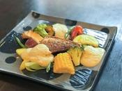 *【創作フレンチ・スタンダードコース一例】鯛のハーブロースト-焼きナスのソース