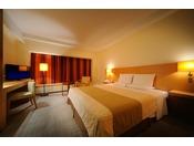 カップルに人気のダブルルーム。幅182センチのキングサイズのベッドは、おふたりでもゆったりとお休みいただけます。
