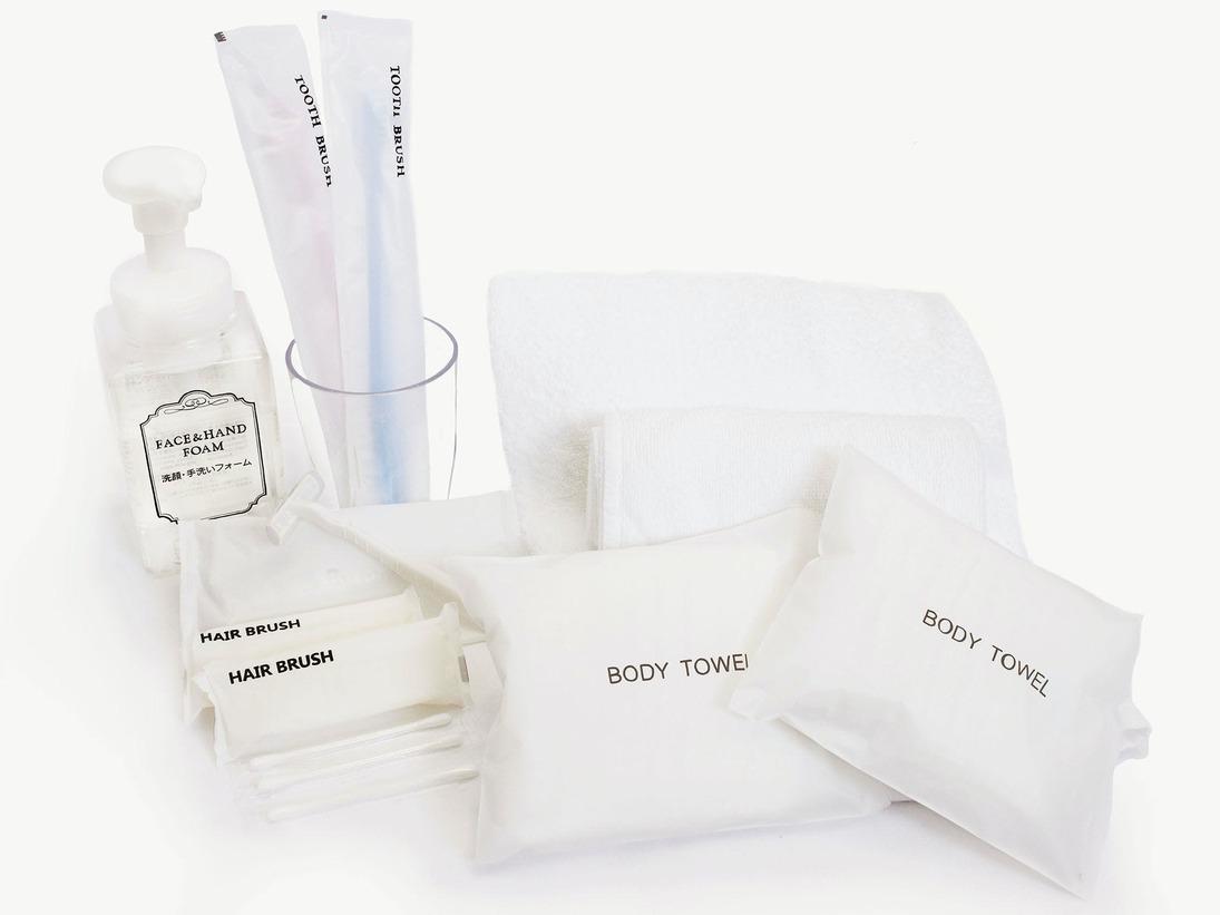 ■バスアメニティ:タオル類・歯ブラシ・レザー・ヘアブラシ・綿棒・洗顔フォーム