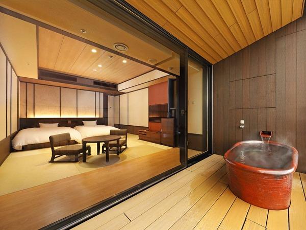 開放感あふれる、露天風呂付客室