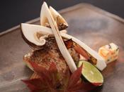 【秋の雅膳】焼物:松茸とのど黒つけ焼 -秋から冬に旨味が増します。富山県では「神魚」と呼ばれます。-