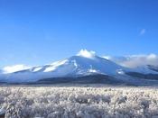 【ホテル・パノラマテラスからの景観】白銀の樹氷と純白の浅間山