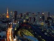 東京タワー側の客室からの夜景(一例)