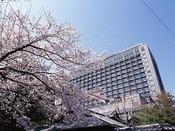 ホテル外観(春)/京都ホテルオークラと桜の風景です。