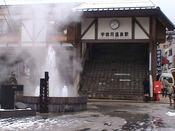 冬の宇奈月温泉駅。駅から送迎いたします