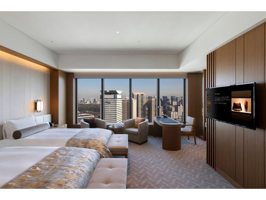 【プレステージルーム(ワイドリビング)】広さ:48平米、ベッド:ツイン 120×215cm、階層:28~33F