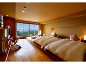 三河湾の美しい景色を眺めながら、デッキで足湯を満喫できる洋室タイプのお部屋。足湯で旅の疲れを癒し、落ち着いた雰囲気の部屋内では寛ぎのひとときを。使い心地のいいツインベッドでゆっくりとお休み下さい。