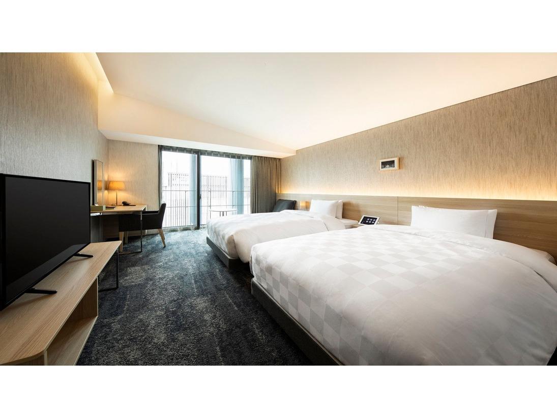 【スタンダードツインルーム】広さ:30平米 ベッドサイズ:120×195 12階(喫煙フロア)・14階~17階(禁煙フロア)に位置しております。お部屋はナチュラルで落ち着いた空間に仕上げております。