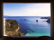 【お部屋眺望 一例】外浦海岸を見下ろし水平線に伊豆七島を臨む絶景が、思い出に残る日を演出します