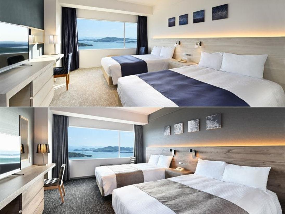 【オーシャンビュー※5・6階※レギュラーツイン 26.9平米】2020年4月リニューアルしたお部屋。ベッドはシモンズ社製セミダブルベッド2台設置。定員2名様まで。全室オーシャンビュー・全室禁煙・Wi-Fi無料接続。フロアの中ほどの位置しています。