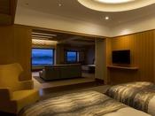 【モダンジャパニーズスイート禁煙】ワンルーム感覚で回遊できる使い勝手の良い客室です。