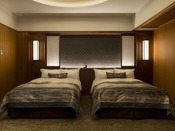 【モダンジャパニーズスイート禁煙】寝室のベッドはシモンズを使用。最上級の睡眠をお約束いたします。