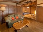 【露天風呂付スイート】柔らかい和モダンテイストの空間で、癒しと安らぎに身をまかせお過ごし下さい