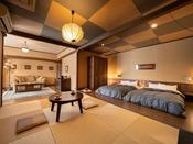 【露天風呂付スイート】ベッドルーム・和室・洋間。広いお部屋でのびのびお寛ぎください