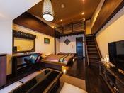 メゾネットタイプのお部屋。ご家族、ご友人5名でのご利用に大人気でございます。