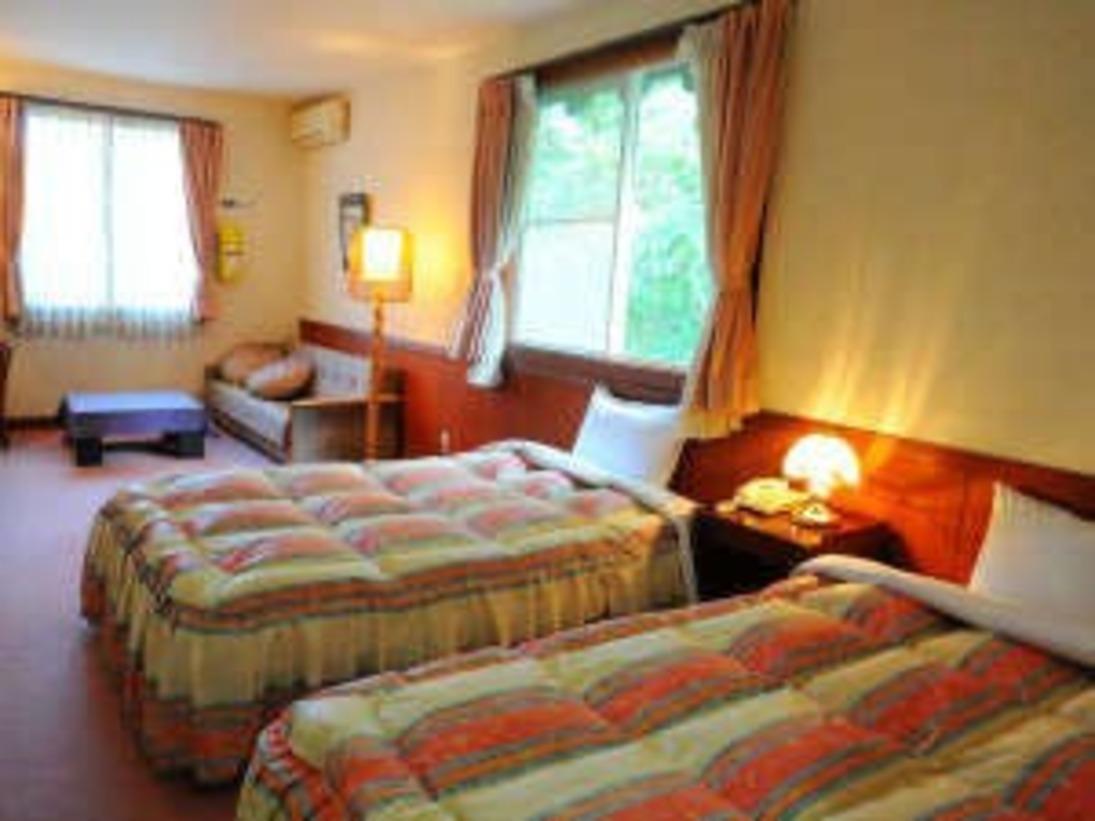 窓から眺める外の景色に癒されます。広くて快適なツインベッドの客室。