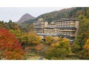 【秋】紅葉を恵まれた自然散策路で満喫もできる。広い庭園には豊沢川も流れ森林浴も楽しめる