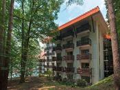 タワー館は、地上7階建て、森に囲まれた洋室タイプのお部屋です。