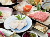 *【クエ鍋×和牛ステーキ】季節限定の幻の高級魚!コラーゲンたっぷりでお肌もつるつるに♪