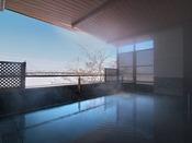 【大浴場 湯楽/2階展望露天風呂】展望露天風呂からは白鳥大橋(十勝中央大橋)と十勝川、そして日高山脈の眺望を楽しめます。
