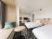 【客室】スーペリアワイドツイン・部屋広さ…25m2・宿泊人数…1~3名・ベッド幅…120cm