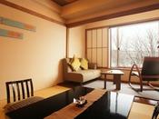 【豆陽亭和モダン和室(一例)】伝統とモダンリビングの融合した新しいタイプのお部屋。写真は8畳+広縁付タイプ