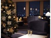 クラブラウンジではクリスマス期間限定の特別演出でお出迎え。