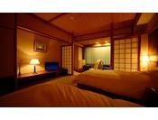 【マッサージチェア付ツイン(禁煙)】シモンズベッド、くつろぎ枕をご用意したリラクゼーションと安眠にこだわったお部屋です。うれしい禁煙ルームとなっております。※ この部屋は2部屋限定となります。