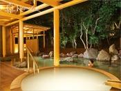 露天風呂/森に抱かれる湯量豊富な『岩風呂』で大地から湧き出る白浜の湯をお楽しみいただけます。